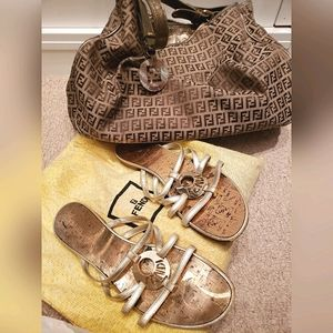 Fendi Gold Metallic Sandals